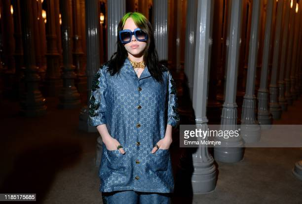 Billie Eilish wearing Gucci attends the 2019 LACMA Art Film Gala Presented By Gucci at LACMA on November 02 2019 in Los Angeles California