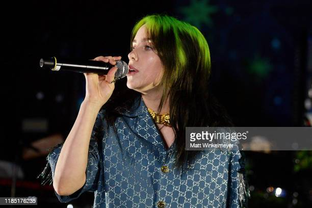 Billie Eilish wearing Gucci performs onstage at the 2019 LACMA Art Film Gala Presented By Gucci at LACMA on November 02 2019 in Los Angeles California