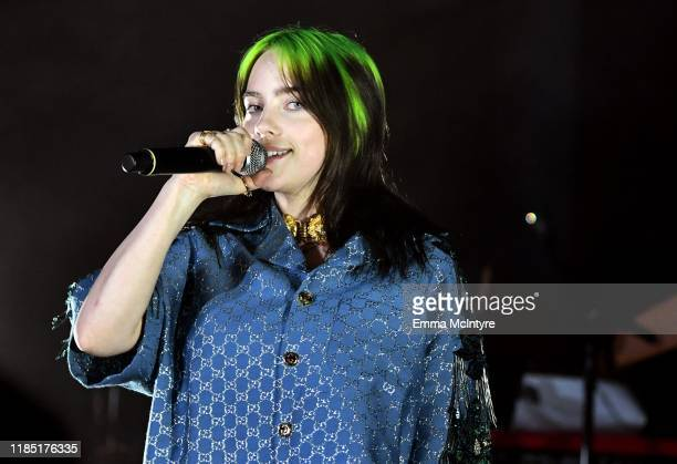 Billie Eilish wearing Gucci speaks onstage at the 2019 LACMA Art Film Gala Presented By Gucci at LACMA on November 02 2019 in Los Angeles California