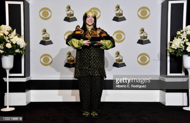"""Billie Eilish, winner of Record of the Year for """"Bad Guy"""", Album of the Year for """"when we all fall asleep, where do we go?"""", Song of the Year for..."""
