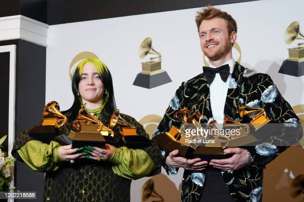 Billie Eilish winner of Record of the Year for Bad Guy Album of the Year for when we all fall asleep where do we go Song of the Year for Bad Guy Best...