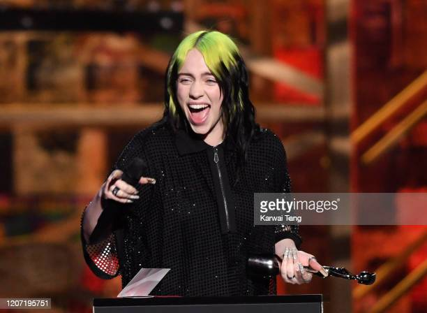 Billie Eilish wins the International Female Solo Artist award during The BRIT Awards 2020 at The O2 Arena on February 18 2020 in London England