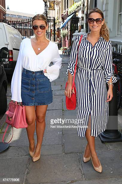 Billie Faiers and Sam Faiers arrive for their Carlton London shoe range launch at the London Malmaison Hotel on May 26 2015 in London England