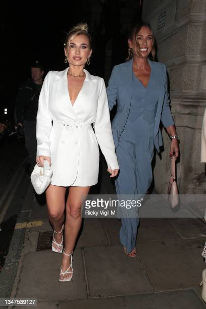 Billie Faiers and Suzie Wells seen attending In The Style's x Billie and Suzie'e launch party at Piazza Italiana on October 19, 2021 in London,...