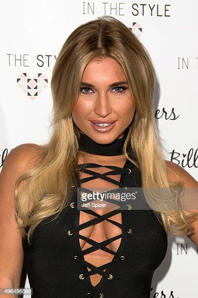 Billie Faiers attends a photocall to launch her first fashion collection for 'In The Style' at Dirty Martini on November 10 2015 in London England