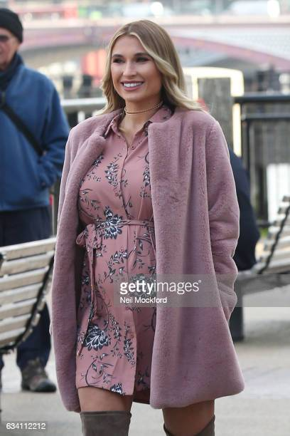 Billie Faiers seen arriving at the launch of their new beauty range for Minnie's on a branded bus on London's Southbank on February 7 2017 in London...