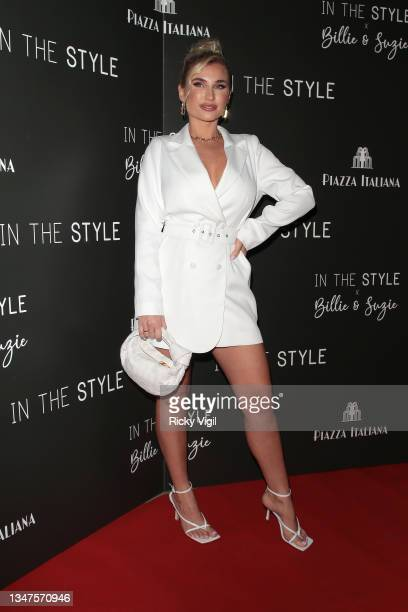 Billie Faiers seen attending In The Style's x Billie and Suzie'e launch party at Piazza Italiana on October 19, 2021 in London, England.