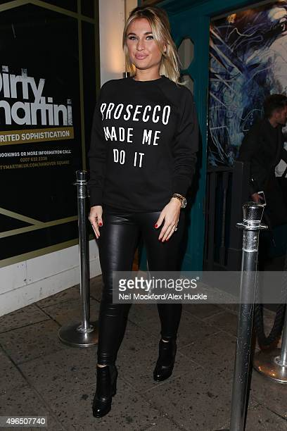 Billie Faiers seen leaving Dirty Martini in Hanover Sq after her clothing range launch on November 10 2015 in London England