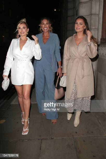 Billie Faiers, Suzie Wells and Sam Faiers seen attending In The Style's x Billie and Suzie'e launch party at Piazza Italiana on October 19, 2021 in...
