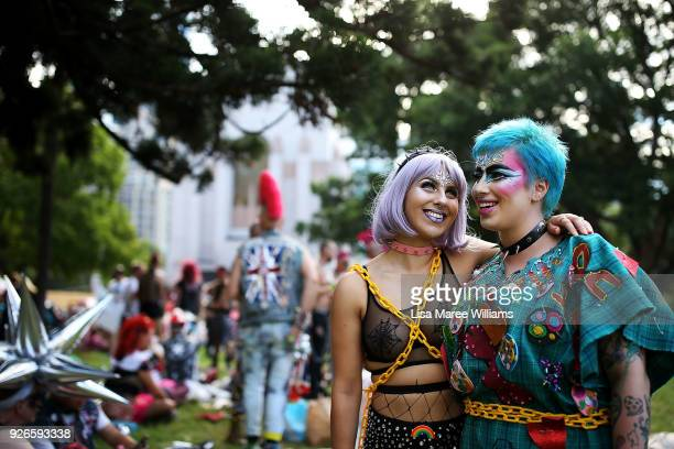 Billie Grieve and Jasmine Grieve pose during the 2018 Sydney Gay Lesbian Mardi Gras Parade on March 3 2018 in Sydney Australia The Sydney Mardi Gras...