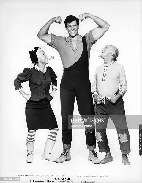 Billie Hayes, Peter Palmer, and Joe E Marks publicity portrait for the film 'Li'l Abner', 1959.