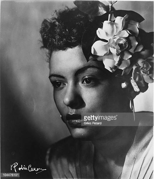 Billie Holiday poses for a studio portrait in 1943 in the United States