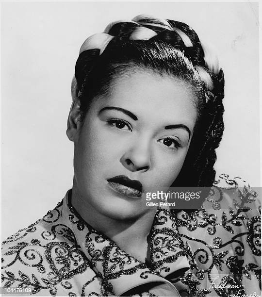 Billie Holiday poses for a studio portrait in 1948 in the United States