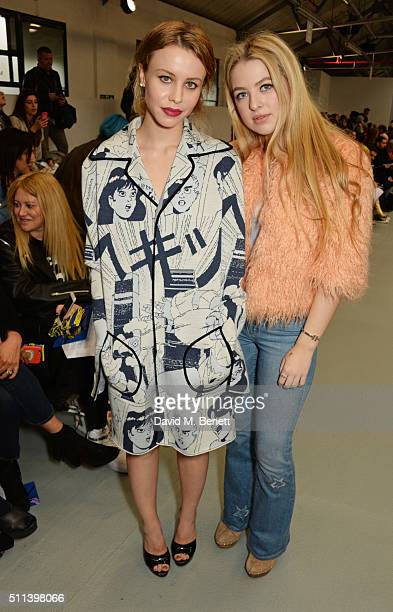 Billie JD Porter and Anais Gallagher attend the SIBLING show during London Fashion Week Autumn/Winter 2016/17 at Brewer Street Car Park on February...