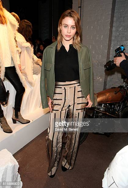 Billie JD Porter attends the Belstaff presentation during London Fashion Week Autumn/Winter 2016/17 at 1 Marylebone Road on February 21, 2016 in...