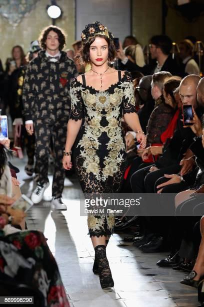 Billie JD Porter walks the Dolce Gabbana Italian Christmas catwalk show at Harrods on November 2 2017 in London England