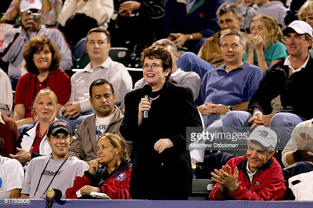 Billie Jean King addresses the crowd during a rain delay before the Andy Roddick and Tim Henman match at the Tennis Masters Cup November 16, 2004 at...