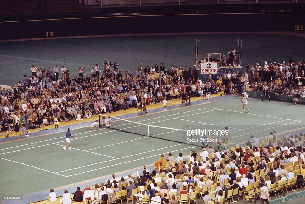 Billie Jean King and Bobby Riggs during the Battle of the Sexes Challenge Match at the Astrodome on September 20, 1973 in Houston, Texas.
