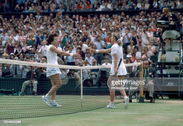 Billie Jean King and Chris EvertLloyd both of the USA shake hands after EvertLloyd wins the Women's Singles Final during the Wimbledon Lawn Tennis...