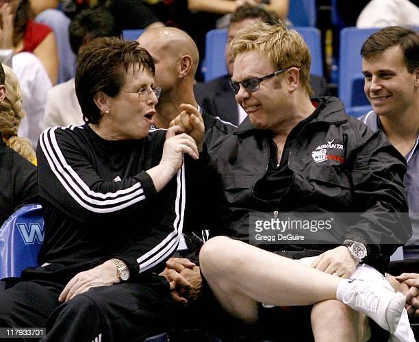 Billie Jean King and Elton John at the Advanta WTT Smash Hits tennis event at the Bren Center at UC Irvine in Irvine California on September 14 2006