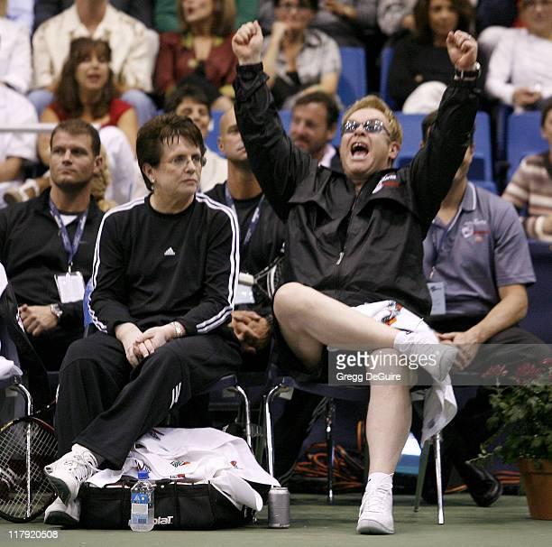 Billie Jean King and Elton John during Advanta WTT Smash Hits Charity Tennis Game September 14 2006 at Bren Center/UC Irvine in Irvine California...