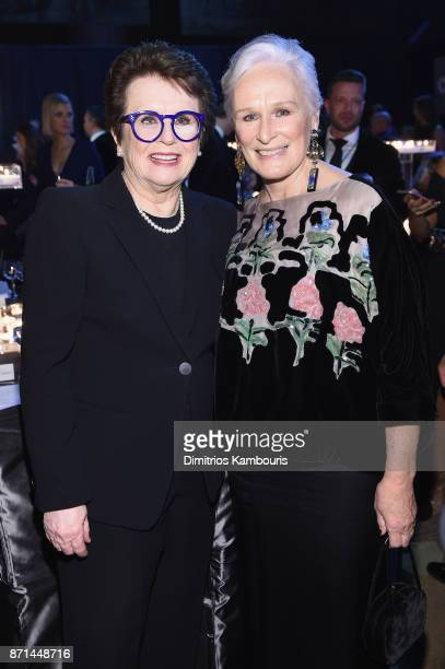 Billie Jean King and Glenn Close attends the Elton John AIDS Foundation Commemorates Its 25th Year And Honors Founder Sir Elton John During New York...