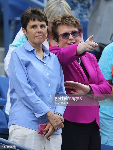 Billie Jean King and her partner Ilana Kloss attend day twelve of the 2015 US Open at USTA Billie Jean King National Tennis Center on September 11...