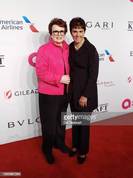 Billie Jean King and Ilana Kloss arrive on the red carpet at the Elton John AIDS Foundation's 17th Annual An Enduring Vision Benefit at Cipriani 42nd...