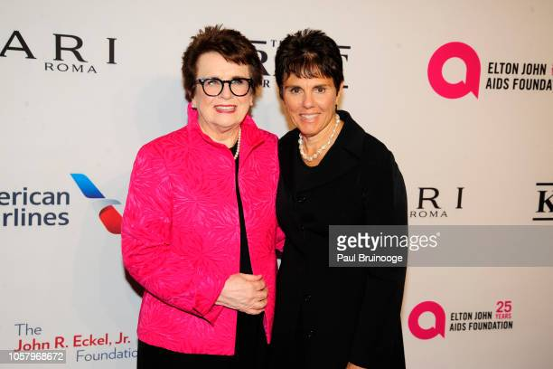 Billie Jean King and Ilana Kloss attend Elton John AIDS Foundation's 17th Annual An Enduring Vision Benefit at Cipriani 42nd Street NYC on November 5...