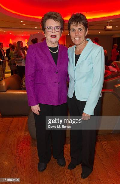 Billie Jean King and Ilana Kloss attend the Battle of The Sexes UK premiere inside arrivals at the Vue Leicester Square June 26 2013 in London England