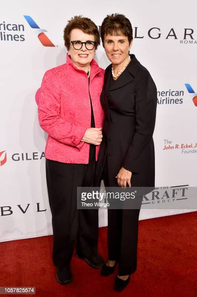 Billie Jean King and Ilana Kloss attend the Elton John AIDS Foundation's 17th Annual An Enduring Vision Benefit at Cipriani 42nd Street on November 5...