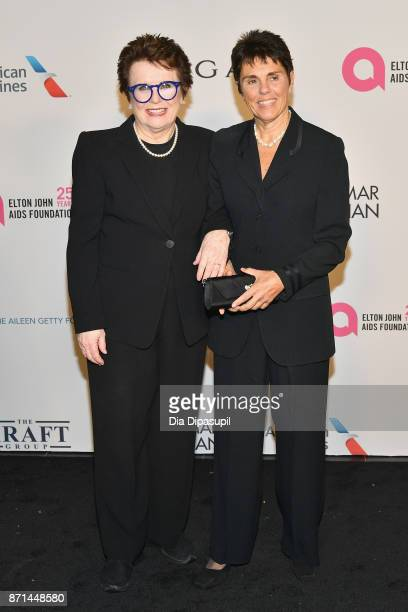 Billie Jean King and Ilana Kloss attend the Elton John AIDS Foundation 25th Year And Honors Founder Sir Elton John During New York Fall Gala at...