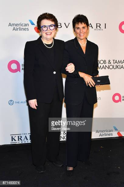 Billie Jean King and Ilana Kloss attend the Elton John AIDS Foundation's Annual Fall Gala with Cocktails By Clase Azul Tequila at Cathedral of St...