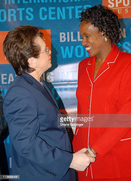 Billie Jean King and Jackie Joyner Kersee during Sports Icons Press Conference Unveiling Plans for the Museum's Billie Jean King International...