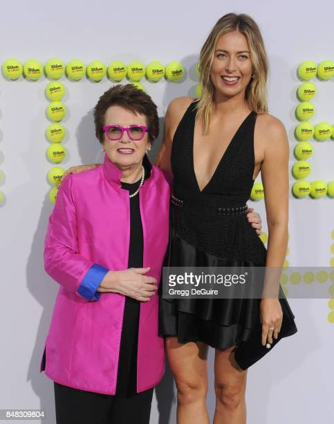 Billie Jean King and Maria Sharapova arrive at the premiere of Fox Searchlight Pictures' 'Battle Of The Sexes' at Regency Village Theatre on...