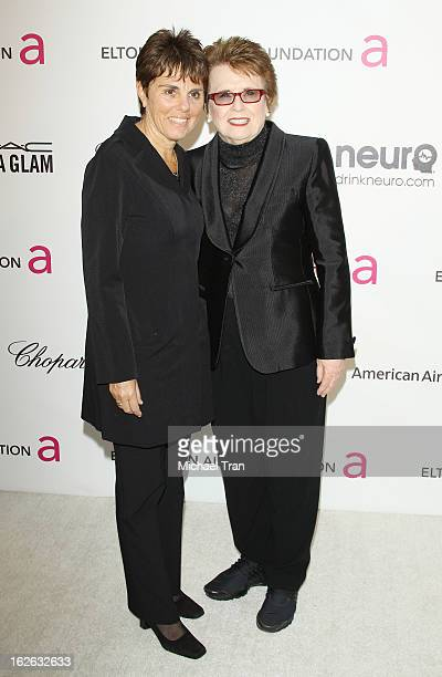 Billie Jean King and Marilyn Barnett arrive at the 21st Annual Elton John AIDS Foundation Academy Awards viewing party held at West Hollywood Park on...
