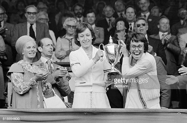 Billie Jean King and Martina Navrtilova hold trophy after winning the women's Double final here It was King's record 20th Wimbledon title they...