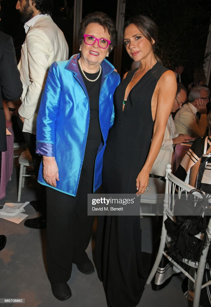 Billie Jean King (L) and Victoria Beckham attend the Argento Ball for the Elton John AIDS Foundation in association with BVLGARI & Bob and Tamar Manoukian on June 27, 2018 in Windsor, England.