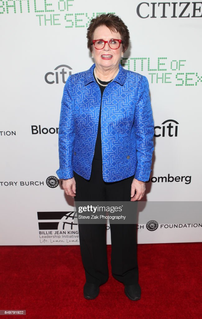 Billie Jean King attends 'Battle Of The Sexes' Special Anniversary Screening at SVA Theater on September 19, 2017 in New York City.