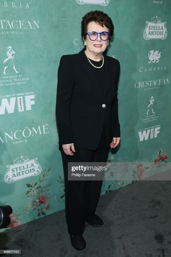 Billie Jean King attends the 11th annual celebration of the 2018 Female Oscar nominees presented by Women in Film at Crustacean on March 2, 2018 in Beverly Hills, California.