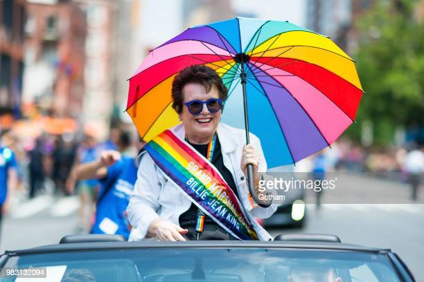 Billie Jean King attends the 2018 New York City Pride March on June 24, 2018 in New York City.