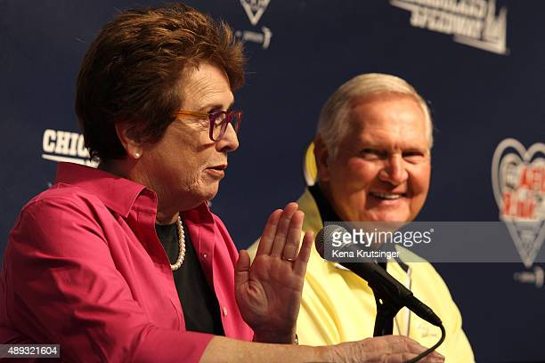 Billie Jean King former World No 1 tennis player and Jerry West former NBA player speak at a press conference prior to the NASCAR Sprint Cup Series...