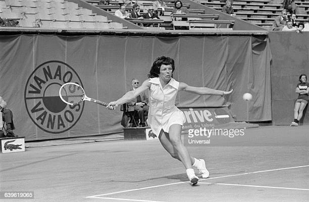 Billie Jean King from the USA during the 1972 Roland Garros French Open