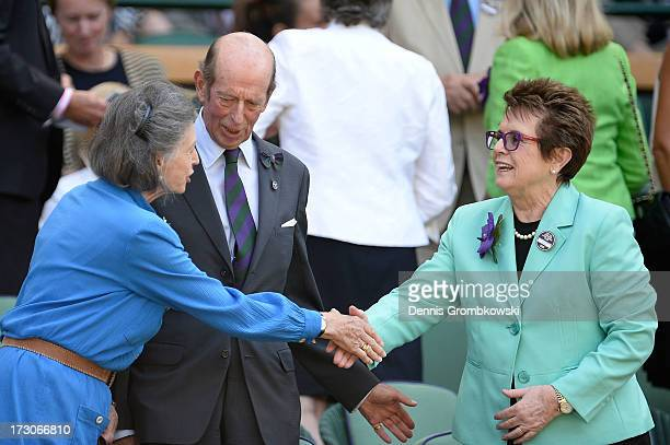 Billie Jean King greets Lady Susan Hussey and Prince Edward Duke of Kent in the Royal Box on Centre Court before the Ladies' Singles final match...