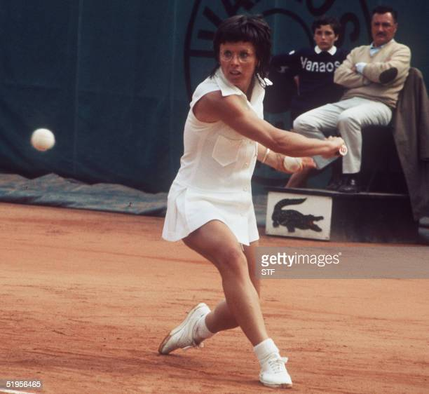 Billie Jean King hits a backhand to her opponent during the Women's singles final at the French tennis Open in Paris June 1972