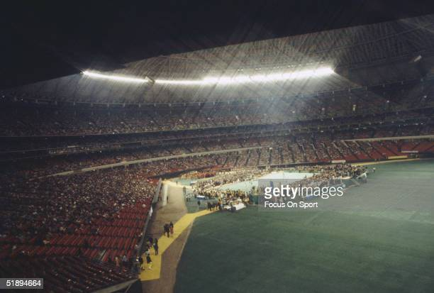 Billie Jean King in a match against Bobby Riggs in front of 30472 spectators at the Houston Astrodome on September 20 1973 in Houston Texas King...