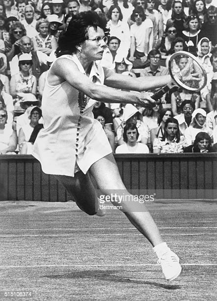 Billie Jean King in action in women's singles semifinals against Australia's Evonne Goolagong. King won 6-3, 5-7, and 6-3.