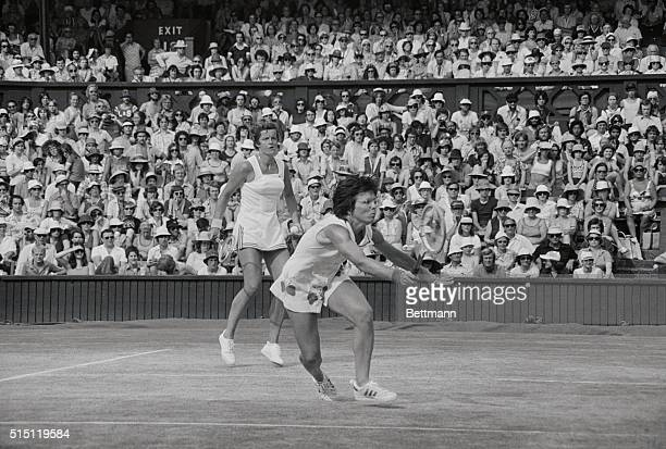 Billie Jean King in action with partner Betty Stove in women's doubles final here plays against Chris Evert and Martina Navratilova Evert and partner...