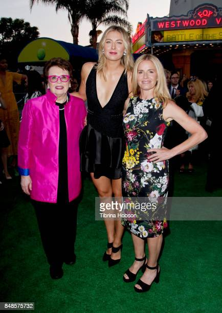 Billie Jean King Maria Sharapova and Elisabeth Shue attend the premiere of Fox Searchlight Picture 'Battle Of The Sexes' at Regency Village Theatre...