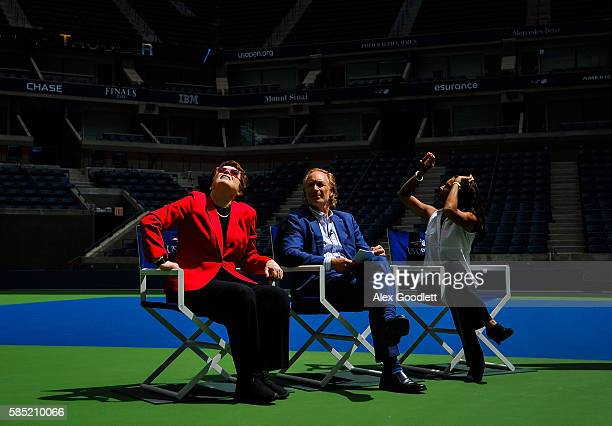 Billie Jean King Matt Rossetti and Jeanne MoutoussamyAshe look on during an event to unveil the retractable roof at Arthur Ashe Stadium on August 2...